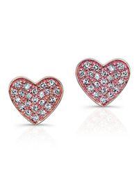 Anne Sisteron - Pink 14kt Rose Gold Diamond Heart Stud Earrings - Lyst
