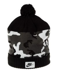 Nike - Black Camo Beanie With Pom-pom for Men - Lyst
