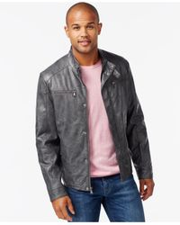 Kenneth Cole | Gray Faux-leather Moto Marble Jacket for Men | Lyst