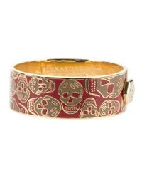 Alexander McQueen - Metallic Enameled Skull Bangle - Lyst