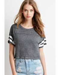 Forever 21 - Black Varsity-striped Crop Top You've Been Added To The Waitlist - Lyst