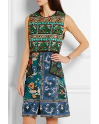 Burberry - Blue Embroidered Printed Cotton-blend Dress - Lyst