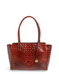Brahmin | Brown 'ashby' Croc Embossed Leather Tote | Lyst