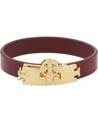 Tory Burch | Purple Turnlock Leather Bracelet, Women's, Dark Plum | Lyst