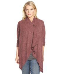Bobeau - Red One-button Fuzzy Fleece Wrap Cardigan - Lyst