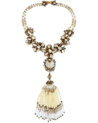 Erickson Beamon | White Weeping Angel Gold-Plated, Bead And Crystal Tassel Necklace | Lyst