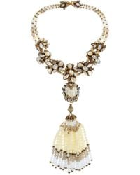 Erickson Beamon - White Weeping Angel Gold-Plated, Bead And Crystal Tassel Necklace - Lyst
