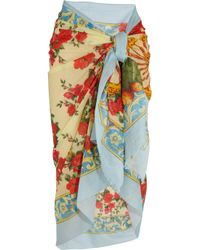 Dolce & Gabbana | Yellow Printed Cotton Sarong | Lyst