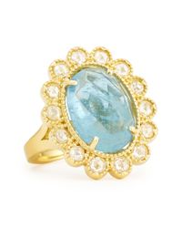 Penny Preville | Blue Oval Rosecut Aquamarine Diamond Scalloped Ring | Lyst