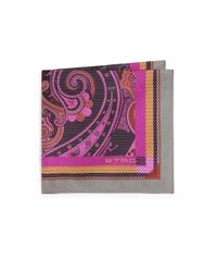 Etro | Pink Bordered Paisley Silk Pocket Square for Men | Lyst
