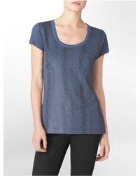 Calvin Klein - Blue White Label Textured Faux Snake Print Chest Pocket T-shirt - Lyst