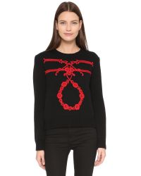 Karla Špetic | Orante Embroidered Pullover - Black/red | Lyst