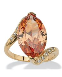 Palmbeach Jewelry | Metallic 8.04 Tcw Marquise-cut Champagne-color Cubic Zirconia Cocktail Ring 18k Gold-plated | Lyst