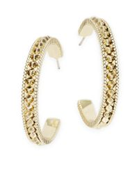 House of Harlow 1960 | Metallic Textured Hoop Earrings | Lyst