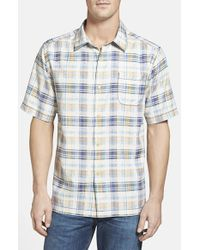Tommy Bahama | Purple 'pool Time Plaid' Silk Camp Shirt for Men | Lyst