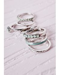 Missguided | Metallic Contrast Stacking Ring Set Silver | Lyst