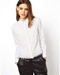 ASOS - White Shirt with Heavy Ethereal Lace Panel - Lyst