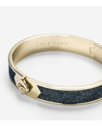 Cole Haan - Metallic Thin Hinged Leather Inlay Bangle - Lyst