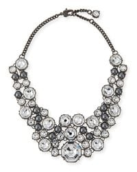 St. John | Black Crystal Octagon Link Necklace | Lyst