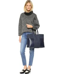 Tory Burch | Blue Block T Large Tote - Tory Navy | Lyst