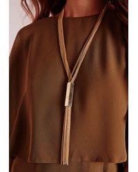 Missguided | Metallic Tassel Necklace Gold | Lyst
