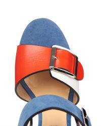 Chrissie Morris - Red Ida Lizard-Effect Leather Wedge Sandals - Lyst