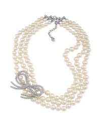 Carolee - Metallic Silvertone Glass Pearl and Crystal Bow Threerow Necklace - Lyst
