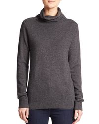 Saks Fifth Avenue | Gray Cashmere Turtleneck Sweater | Lyst
