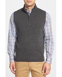 John W. Nordstrom | Gray Quarter Zip Cashmere Vest for Men | Lyst