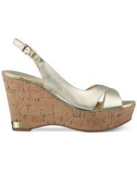 Marc Fisher - Metallic Wasin Platform Wedge Sandals - Lyst