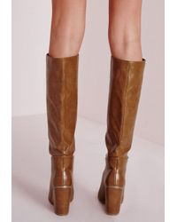 Missguided - Brown High Leg Patent Boots Tan - Lyst