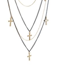 Mango | Black Multi Chain Crosses Long Necklace | Lyst