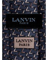 Lanvin - Blue Chevron Print Silk Satin Tie for Men - Lyst