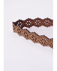 Missguided | Brown Lazer Cut Choker Tan | Lyst