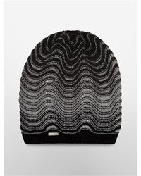 Calvin Klein | Black White Label Wave Stitch Beanie for Men | Lyst