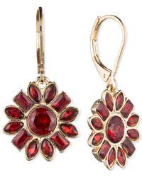 Nine West | Gold-tone Red Crystal Flower Drop Earrings | Lyst
