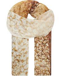 Max Mara | Orange Atlanta Leopard-print Silk-chiffon Scarf | Lyst
