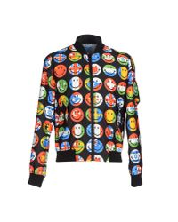 Moschino - Black Smiley Flags Printed Nylon Bomber Jacket for Men - Lyst