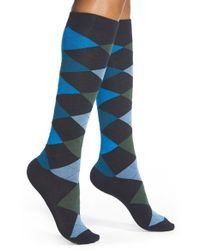 Hue | Blue Argyle Knee Socks | Lyst
