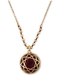 Lucky Brand | Metallic Gold-Tone Red Stone Pendant Necklace | Lyst