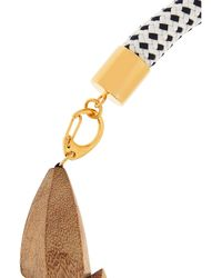 Marni - Brown Gold-Plated, Wood And Rope Necklace - Lyst