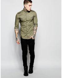 DIESEL - Shirt S-haul Slim Fit Military Poplin In Green for Men - Lyst