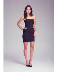 Bebe - Black Strapless Peplum Dress - Lyst