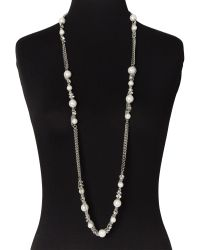 Givenchy - Metallic Silver-Tone Long Faux Pearl Necklace - Lyst