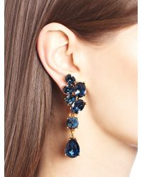 Oscar de la Renta | Blue Swarovski Crystal Asymmetrical Earrings | Lyst