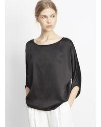 be27435f5fd03 Lyst - Vince Silk Satin Envelope Sleeve Blouse in Black