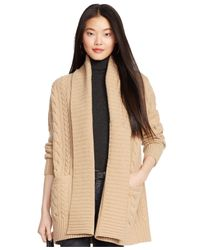 Polo Ralph Lauren - Natural Cabled Wool-cashmere Cardigan - Lyst
