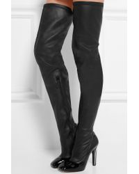 Alexander McQueen - Black Leather Over-the-knee Boots - Lyst