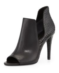 Sigerson Morrison - Black Mance Cutout Snake-embossed Bootie - Lyst