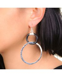 Black.co.uk | Metallic Emma Silver Plated And Black Double Hoop Earrings | Lyst